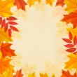 Retro autumn background with colorful leaves. Vector. — Stock Vector