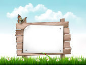 Nature background with green grass and flowers and wooden sign V — Stock Vector