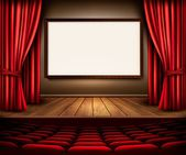 A theater stage with a red curtain, seats and a project board. V — Stock Vector