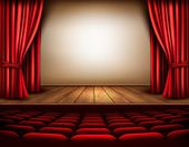 A theater stage with a red curtain, seats. Vector.  — Stock Vector