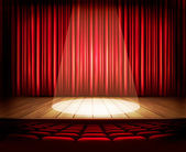 A theater stage with a red curtain, seats and a spotlight. Vecto — Stockvector