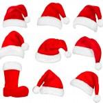 Big set of red santa hats and boot. Vector. — Stock Vector #7792146