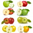 Set of red and green apple fruits with cut and green leaves. Vector illustr — Stock Vector #7855092