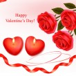Valentine`s day background. Red roses and two heart candles. Vector. — Stock Vector #8417404