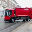 Stock Photo: Red garbage disposal truck