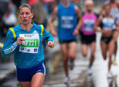 BUCHAREST, ROMANIA - OCTOBER 8: An unidentified marathon runner — Stock Photo