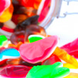 Colorful candies in a glass jar — Stock Photo