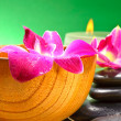 Image of sptherapy, flowers in water, on bamboo mat — Photo #13195911