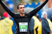 BUCHAREST, ROMANIA - OCTOBER 8: An unidentified marathon runner — 图库照片