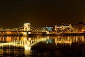 Chain Bridge of Budapest by night, Hungary — Stock Photo