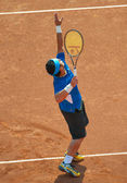 BUCHAREST, ROMANIA - SEPTEMBER 17: Unidentified tennis player in — Stock Photo