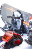 Snowboard utrustning, utomhus bild på vintern — Stockfoto