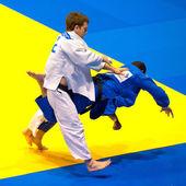Bucharest, Romanya - Haziran 4: yarışmacılar katılmak judo — Stok fotoğraf