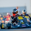 Unknown pilots competing in National Karting Championship - Stock Photo