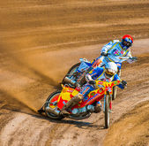 Unidentified rider participate at European Championship of Dirt Track — Stock Photo