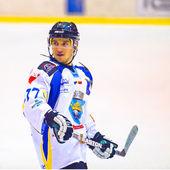 Hockey player during the Steaua Rangers(blue) vs Corona Brasov(white) — ストック写真