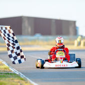 Young pilot competing in National Karting Championship 2012 — Stock Photo
