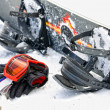 Snowboard equipment, outdoor image in winter time - Stock Photo