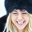 Winter women close up portrait — Stock Photo