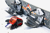 Snowboard equipment, outdoor image in winter time — Stock Photo