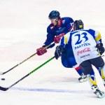 Hockey players during the Steaua Rangers(blue) vs Corona Brasov(white) — Stock Photo