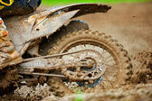 Detail view to the wheel of motocross bike. — Stockfoto
