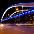Basarab bridge in the night, Bucharest, Romania - Stock Photo