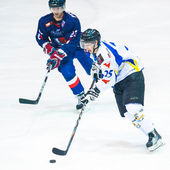 Hockey players compete during the Steaua Rangers(blue) vs Corona Brasov(white) — Stockfoto