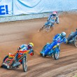 Riders participate at European Championship of Dirt Track - Stock Photo