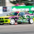 Car driver piloting his car at Romania's National Championship Drift 2012 — Stock Photo
