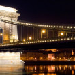 Chain Bridge of Budapest by night, Hungary — Stock Photo