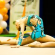 Unknown gymnast performs - Stock Photo