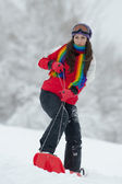 Young woman outdoor in winter enjoying the snow — Stock Photo