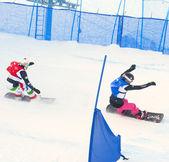 Cortina d ' Ampezzo, Italien - Dezember 22: Unbekannter Snowboarder führt während der Europacup Snowboardcross am 22. Dezember 2012, Cortina d ' Ampezzo, Italien — Stockfoto