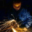 Sparks during working with steel in the factory — Stock Photo