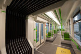 Inside a green empty subway — Stock Photo