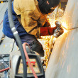 Welder working at shipyard in day time — Stock Photo #37324895