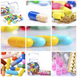 Stock Photo: Collage of different colorful pills