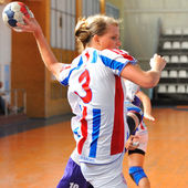 Handball players in action — Stock Photo