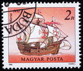 "A stamp printed in Hungary shows image wind-driven ships ""Santa Maria"" — Stock Photo"