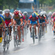 Stock Photo: Cyclists from various teams cycle