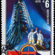 Stamp printed in USSR shows spacecraft, devoted space exploration — Stock Photo #37860383