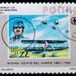 Stock Photo: Stamp printed in Poland showing vintage biplane