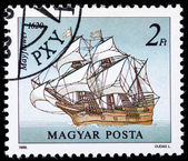 "Stamp printed in Hungary shows image wind-driven ships ""Mayflawer&quot, 1620 — Stock Photo"