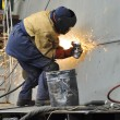 Welder working at shipyard in day time — Stock Photo #38732635