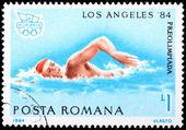 Stamp printed in Romania — Stok fotoğraf