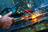 Welding close-up bright light — Stock Photo