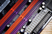 Computer motherboard closeup — Stock Photo