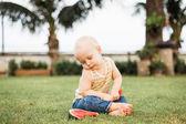 Baby boy eating watermelon — Stock Photo