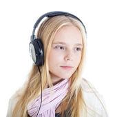 European girl with headphones — Stock Photo